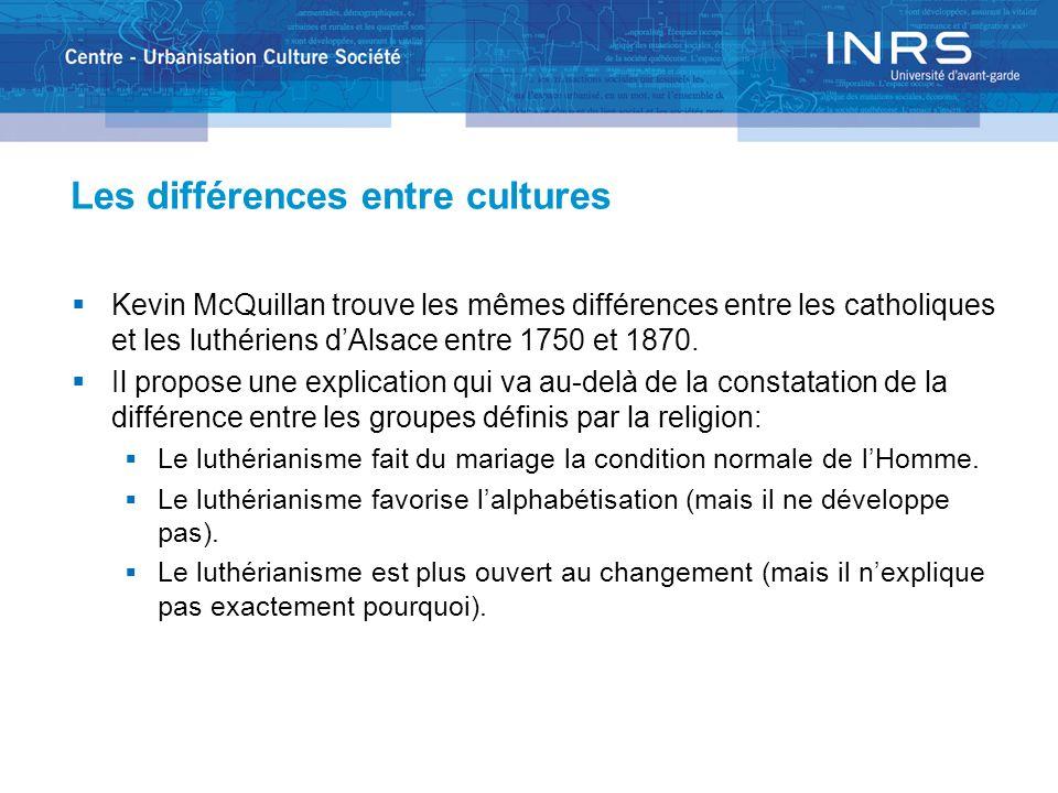 Les différences entre cultures Kevin McQuillan trouve les mêmes différences entre les catholiques et les luthériens dAlsace entre 1750 et 1870. Il pro