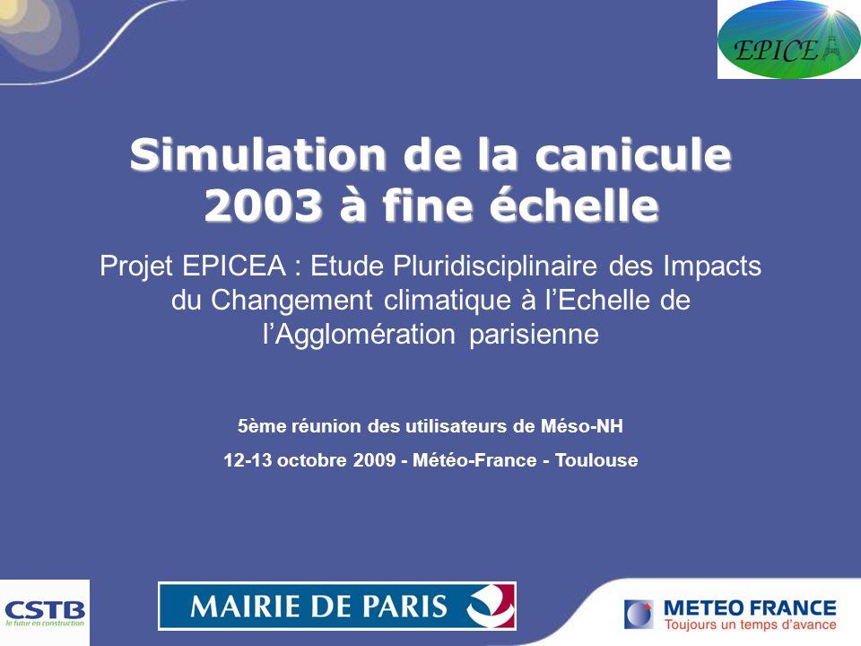 Simulation de la canicule 2003 à fine échelle Projet EPICEA : Etude Pluridisciplinaire des Impacts du Changement climatique à lEchelle de lAgglomération parisienne 5ème réunion des utilisateurs de Méso-NH 12-13 octobre 2009 - Météo-France - Toulouse