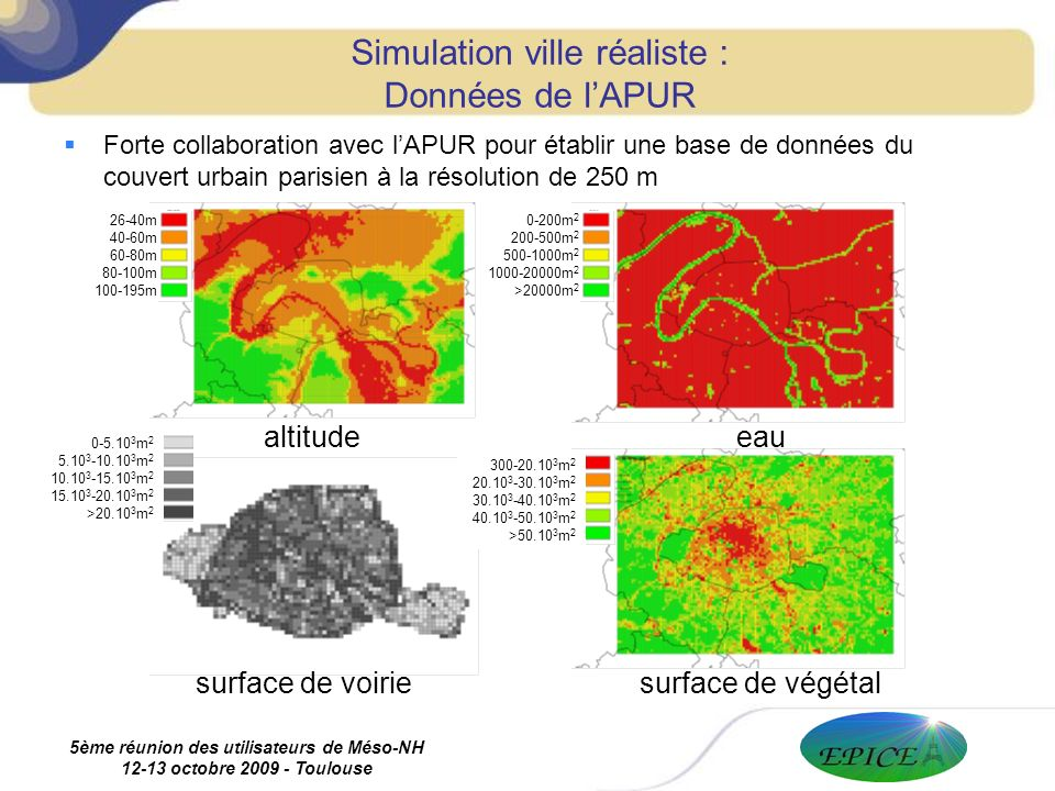 5ème réunion des utilisateurs de Méso-NH 12-13 octobre 2009 - Toulouse Forte collaboration avec lAPUR pour établir une base de données du couvert urbain parisien à la résolution de 250 m Simulation ville réaliste : Données de lAPUR eau surface de végétalsurface de voirie altitude 0-200m 2 200-500m 2 500-1000m 2 1000-20000m 2 >20000m 2 26-40m 40-60m 60-80m 80-100m 100-195m 300-20.10 3 m 2 20.10 3 -30.10 3 m 2 30.10 3 -40.10 3 m 2 40.10 3 -50.10 3 m 2 >50.10 3 m 2 0-5.10 3 m 2 5.10 3 -10.10 3 m 2 10.10 3 -15.10 3 m 2 15.10 3 -20.10 3 m 2 >20.10 3 m 2