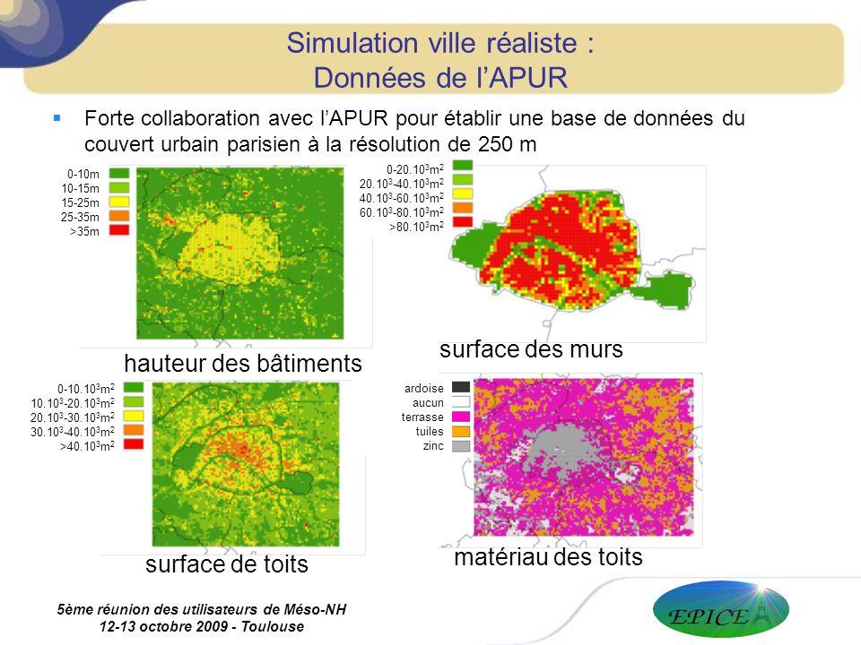 5ème réunion des utilisateurs de Méso-NH 12-13 octobre 2009 - Toulouse Forte collaboration avec lAPUR pour établir une base de données du couvert urbain parisien à la résolution de 250 m Simulation ville réaliste : Données de lAPUR surface de toits matériau des toits hauteur des bâtiments surface des murs ardoise aucun terrasse tuiles zinc 0-10m 10-15m 15-25m 25-35m >35m 0-20.10 3 m 2 20.10 3 -40.10 3 m 2 40.10 3 -60.10 3 m 2 60.10 3 -80.10 3 m 2 >80.10 3 m 2 0-10.10 3 m 2 10.10 3 -20.10 3 m 2 20.10 3 -30.10 3 m 2 30.10 3 -40.10 3 m 2 >40.10 3 m 2
