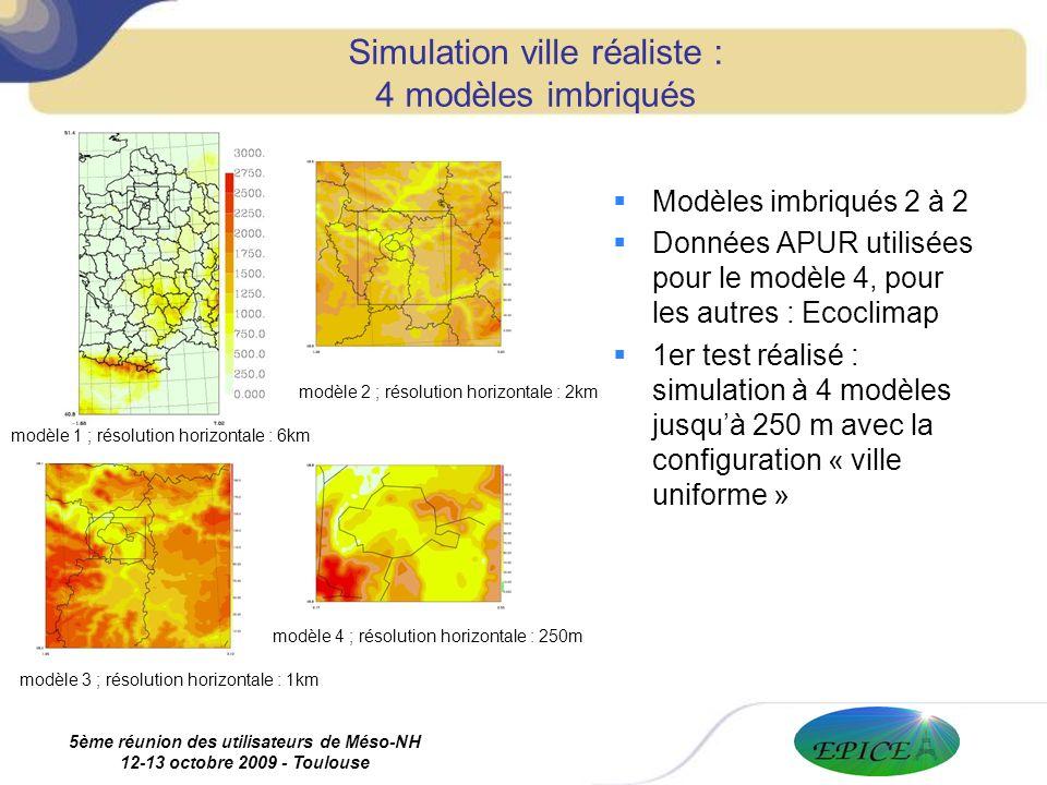 5ème réunion des utilisateurs de Méso-NH 12-13 octobre 2009 - Toulouse Simulation ville réaliste : 4 modèles imbriqués Modèles imbriqués 2 à 2 Données APUR utilisées pour le modèle 4, pour les autres : Ecoclimap 1er test réalisé : simulation à 4 modèles jusquà 250 m avec la configuration « ville uniforme » modèle 1 ; résolution horizontale : 6km modèle 4 ; résolution horizontale : 250m modèle 3 ; résolution horizontale : 1km modèle 2 ; résolution horizontale : 2km
