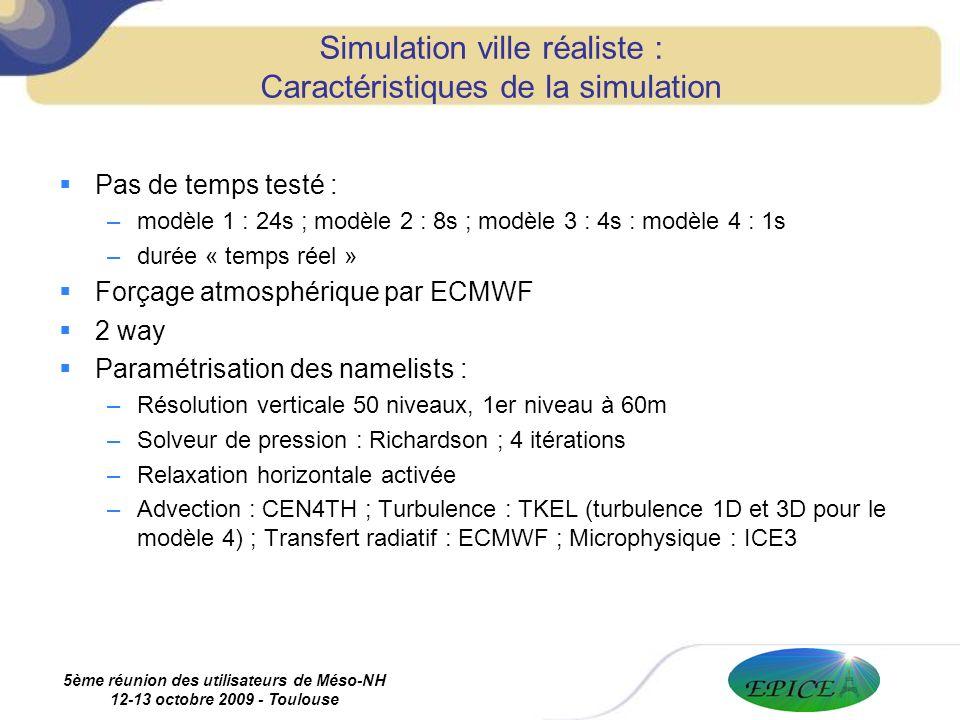 5ème réunion des utilisateurs de Méso-NH 12-13 octobre 2009 - Toulouse Pas de temps testé : –modèle 1 : 24s ; modèle 2 : 8s ; modèle 3 : 4s : modèle 4 : 1s –durée « temps réel » Forçage atmosphérique par ECMWF 2 way Paramétrisation des namelists : –Résolution verticale 50 niveaux, 1er niveau à 60m –Solveur de pression : Richardson ; 4 itérations –Relaxation horizontale activée –Advection : CEN4TH ; Turbulence : TKEL (turbulence 1D et 3D pour le modèle 4) ; Transfert radiatif : ECMWF ; Microphysique : ICE3 Simulation ville réaliste : Caractéristiques de la simulation