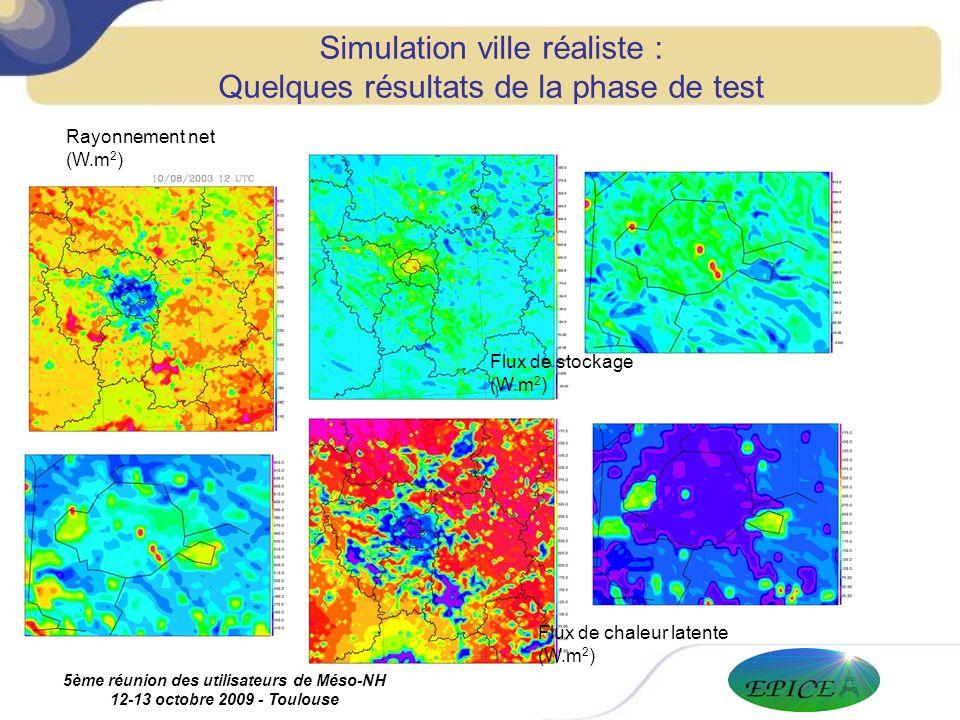 5ème réunion des utilisateurs de Méso-NH 12-13 octobre 2009 - Toulouse Simulation ville réaliste : Quelques résultats de la phase de test Rayonnement net (W.m 2 ) Flux de chaleur latente (W.m 2 ) Flux de stockage (W.m 2 )