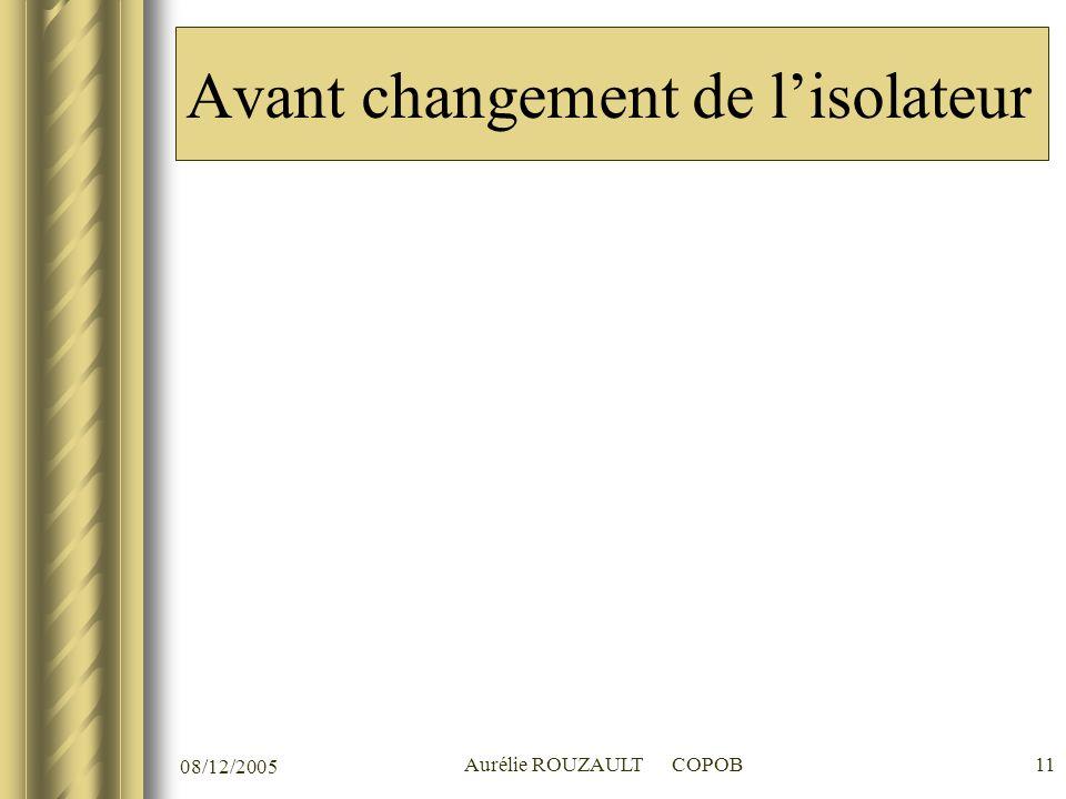 08/12/2005 Aurélie ROUZAULT COPOB11 Avant changement de lisolateur
