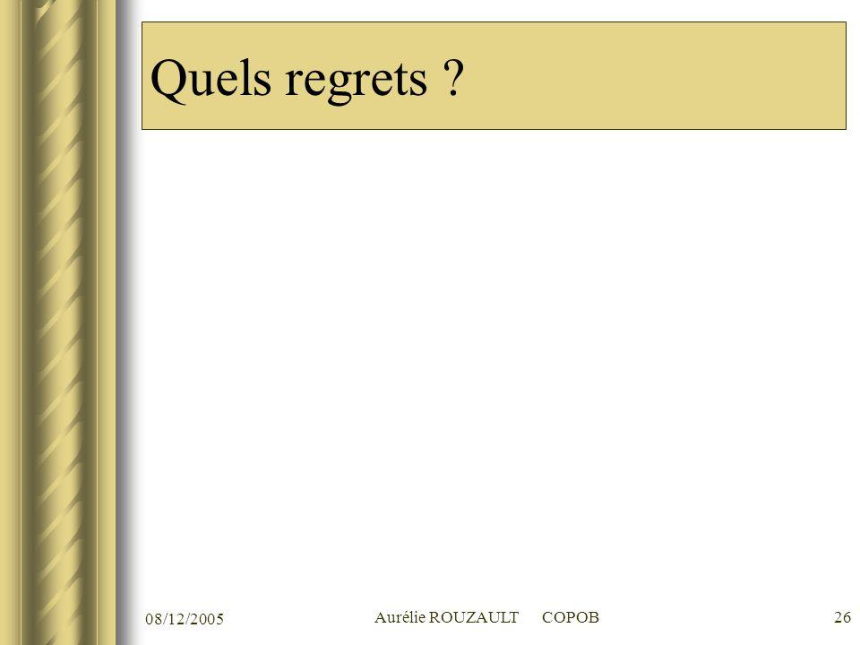08/12/2005 Aurélie ROUZAULT COPOB26 Quels regrets ?