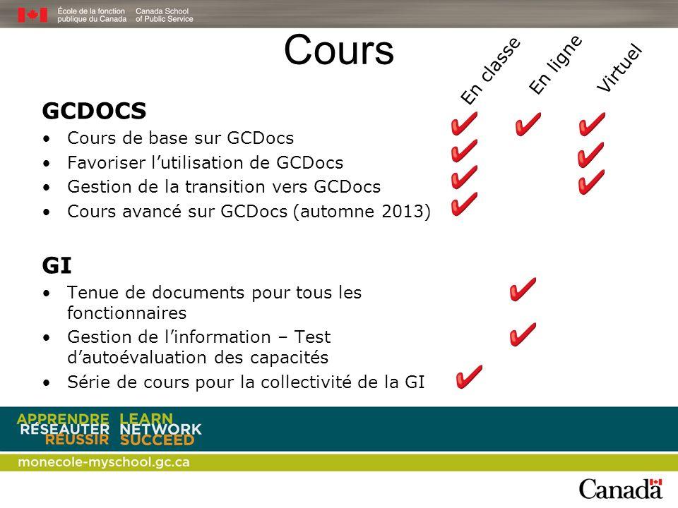 Cours GCDOCS Cours de base sur GCDocs Favoriser lutilisation de GCDocs Gestion de la transition vers GCDocs Cours avancé sur GCDocs (automne 2013) GI