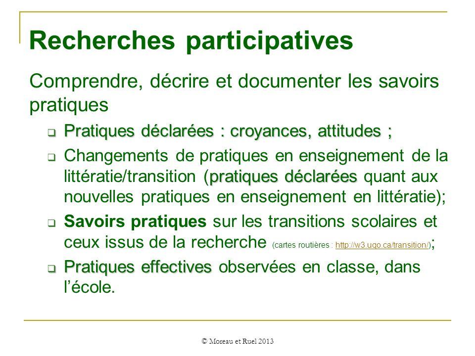 Recherches participatives Comprendre, décrire et documenter les savoirs pratiques Pratiques déclarées : croyances, attitudes ; Pratiques déclarées : c