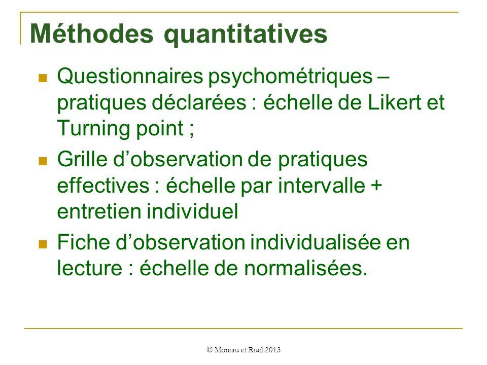 Questionnaires psychométriques – pratiques déclarées : échelle de Likert et Turning point ; Grille dobservation de pratiques effectives : échelle par