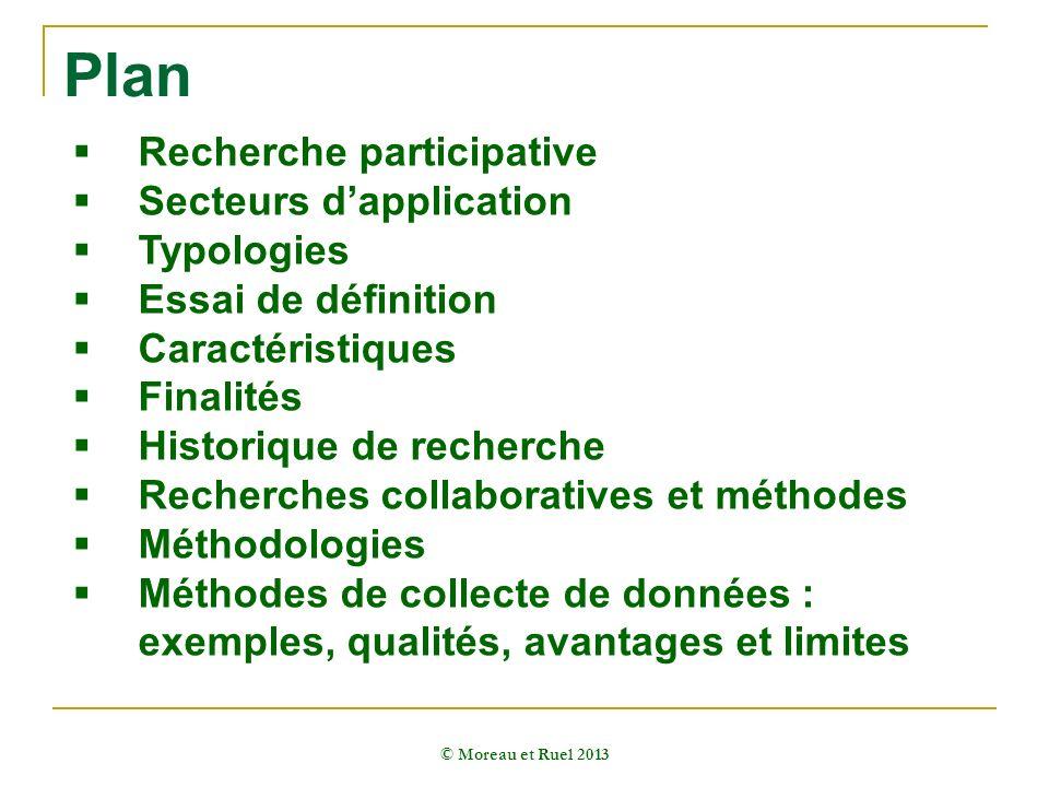Plan © Moreau et Ruel 2013 Recherche participative Secteurs dapplication Typologies Essai de définition Caractéristiques Finalités Historique de reche