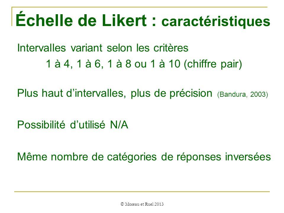 Intervalles variant selon les critères 1 à 4, 1 à 6, 1 à 8 ou 1 à 10 (chiffre pair) Plus haut dintervalles, plus de précision (Bandura, 2003) Possibil