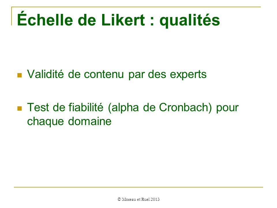 Validité de contenu par des experts Test de fiabilité (alpha de Cronbach) pour chaque domaine © Moreau et Ruel 2013 Échelle de Likert : qualités