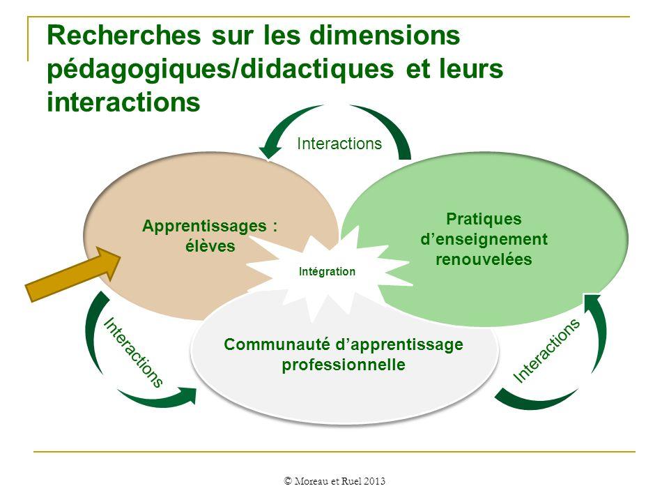 Recherches sur les dimensions pédagogiques/didactiques et leurs interactions © Moreau et Ruel 2013 Apprentissages : élèves Pratiques denseignement ren
