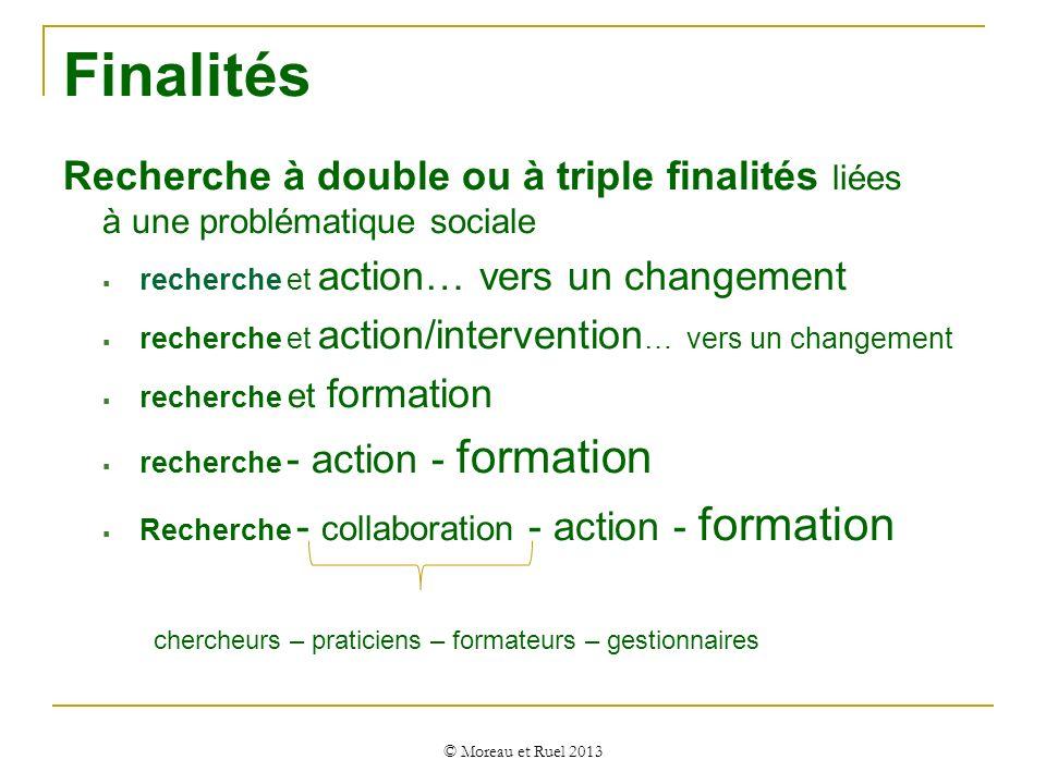 Finalités Recherche à double ou à triple finalités liées à une problématique sociale recherche et action… vers un changement recherche et action/inter