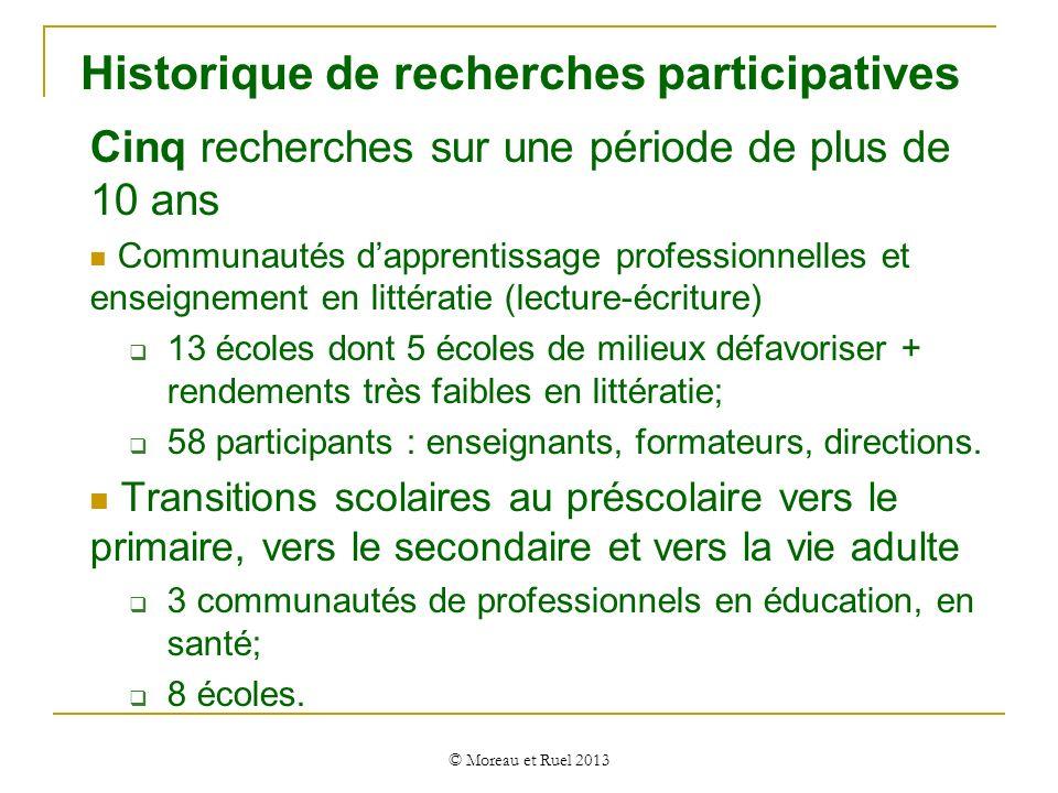 Recherches participatives Comprendre, décrire et documenter les savoirs pratiques Pratiques déclarées : croyances, attitudes ; Pratiques déclarées : croyances, attitudes ; pratiques déclarées Changements de pratiques en enseignement de la littératie/transition (pratiques déclarées quant aux nouvelles pratiques en enseignement en littératie); Savoirs pratiques sur les transitions scolaires et ceux issus de la recherche (cartes routières : http://w3.uqo.ca/transition/) ;http://w3.uqo.ca/transition/ Pratiques effectives Pratiques effectives observées en classe, dans lécole.