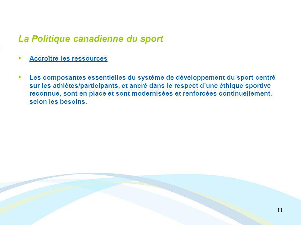 11 La Politique canadienne du sport Accroître les ressources Les composantes essentielles du système de développement du sport centré sur les athlètes/participants, et ancré dans le respect dune éthique sportive reconnue, sont en place et sont modernisées et renforcées continuellement, selon les besoins.