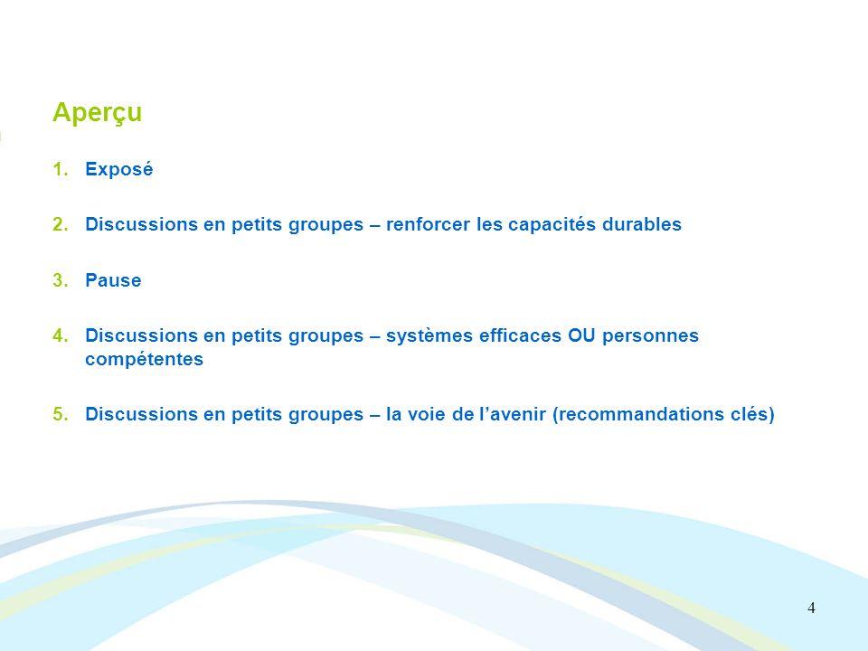 4 Aperçu 1.Exposé 2.Discussions en petits groupes – renforcer les capacités durables 3.Pause 4.Discussions en petits groupes – systèmes efficaces OU personnes compétentes 5.Discussions en petits groupes – la voie de lavenir (recommandations clés)
