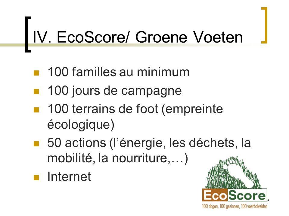 16 IV. EcoScore/ Groene Voeten 100 familles au minimum 100 jours de campagne 100 terrains de foot (empreinte écologique) 50 actions (lénergie, les déc