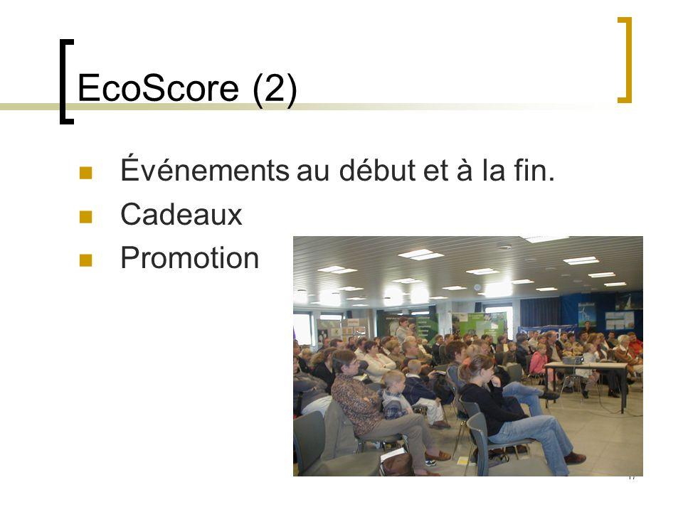 17 EcoScore (2) Événements au début et à la fin. Cadeaux Promotion