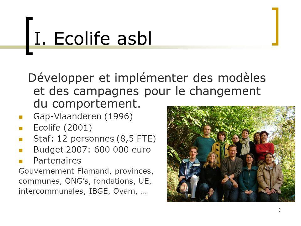 3 I. Ecolife asbl Développer et implémenter des modèles et des campagnes pour le changement du comportement. Gap-Vlaanderen (1996) Ecolife (2001) Staf