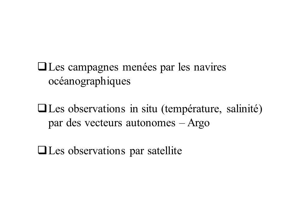 Les campagnes menées par les navires océanographiques Les observations in situ (température, salinité) par des vecteurs autonomes – Argo Les observati