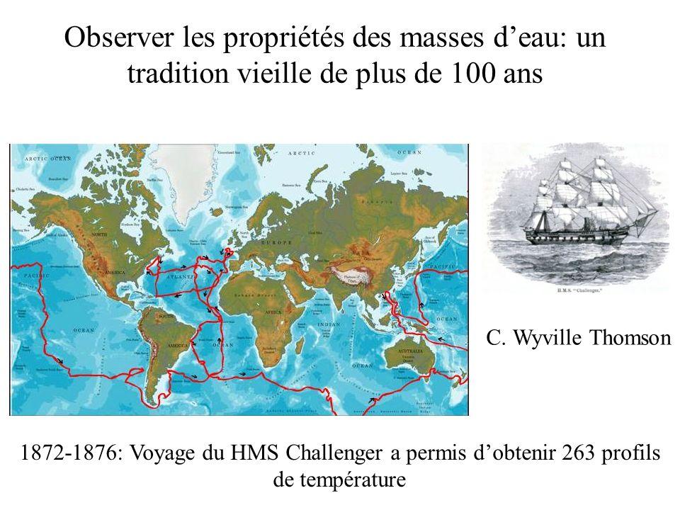 1872-1876: Voyage du HMS Challenger a permis dobtenir 263 profils de température Observer les propriétés des masses deau: un tradition vieille de plus