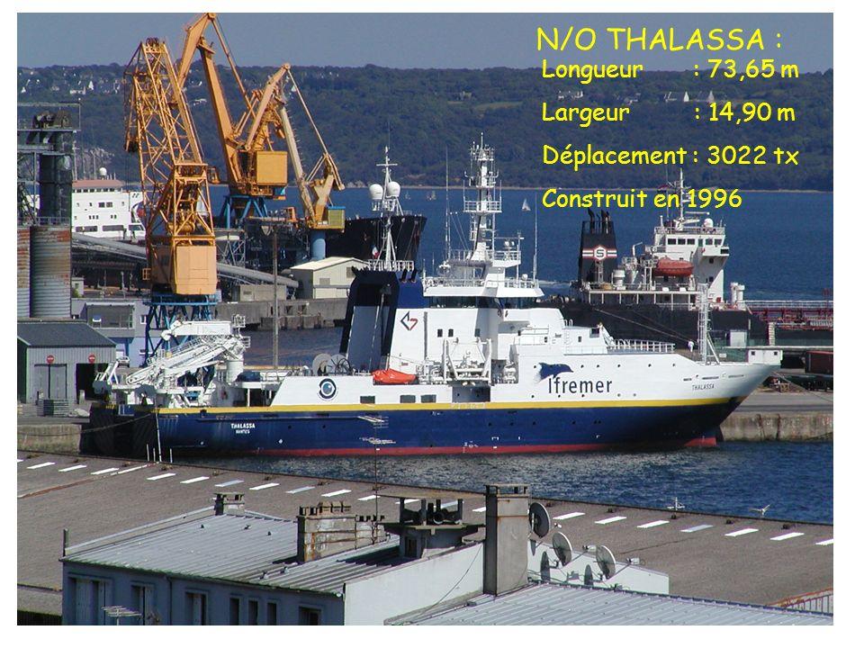 N/O THALASSA : Longueur : 73,65 m Largeur : 14,90 m Déplacement : 3022 tx Construit en 1996