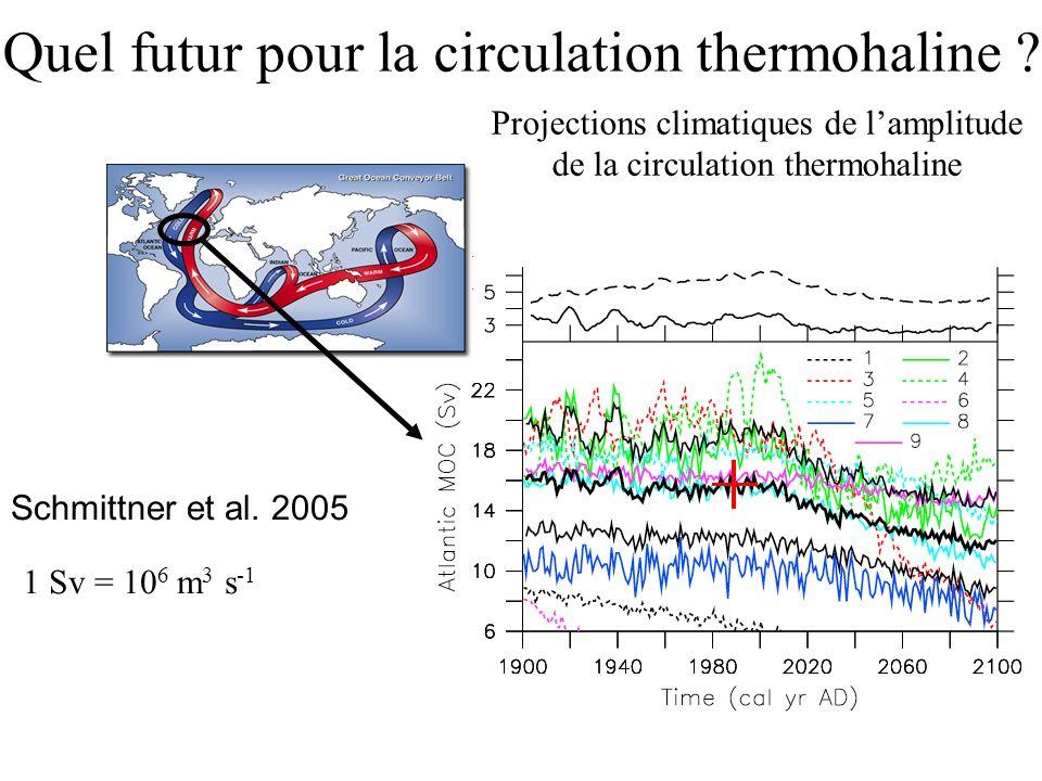 Quel futur pour la circulation thermohaline ? Schmittner et al. 2005 1 Sv = 10 6 m 3 s -1 Projections climatiques de lamplitude de la circulation ther