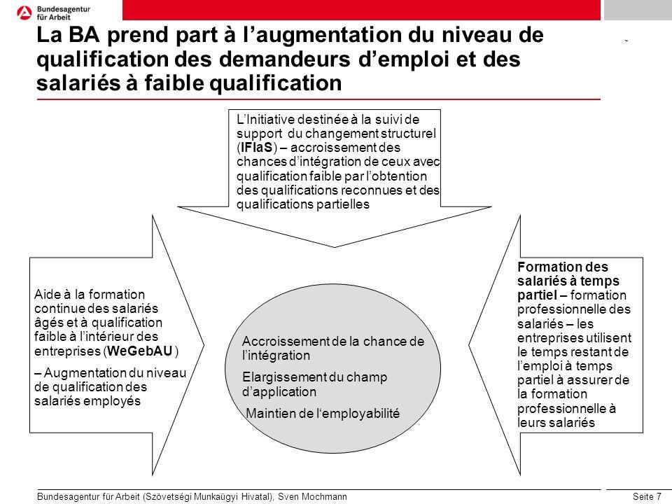 Seite 7 Bundesagentur für Arbeit (Szövetségi Munkaügyi Hivatal), Sven Mochmann La BA prend part à laugmentation du niveau de qualification des demande