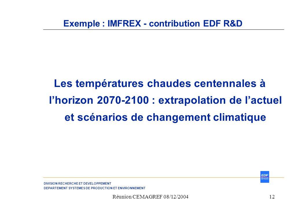 DIVISION RECHERCHE ET DEVELOPPEMENT DEPARTEMENT SYSTEMES DE PRODUCTION ET ENVIRONNEMENT Réunion CEMAGREF 08/12/200412 Exemple : IMFREX - contribution