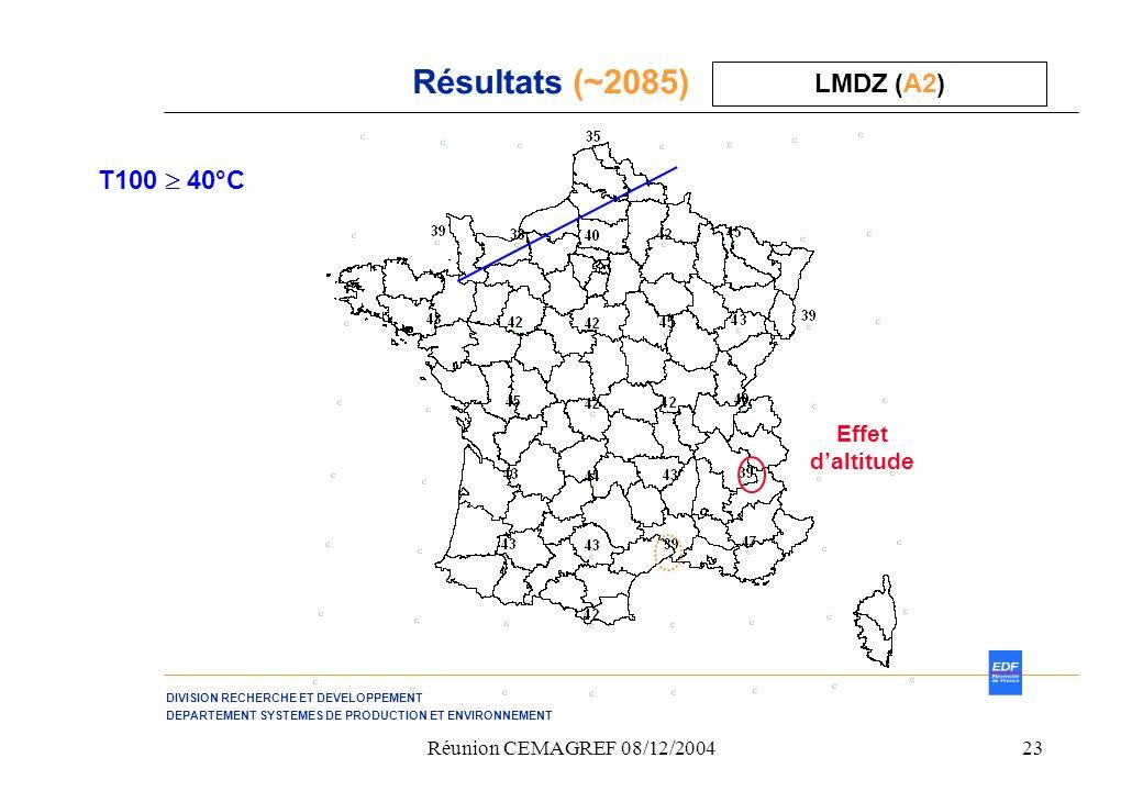 DIVISION RECHERCHE ET DEVELOPPEMENT DEPARTEMENT SYSTEMES DE PRODUCTION ET ENVIRONNEMENT Réunion CEMAGREF 08/12/200423 Résultats (~2085) LMDZ (A2) T100