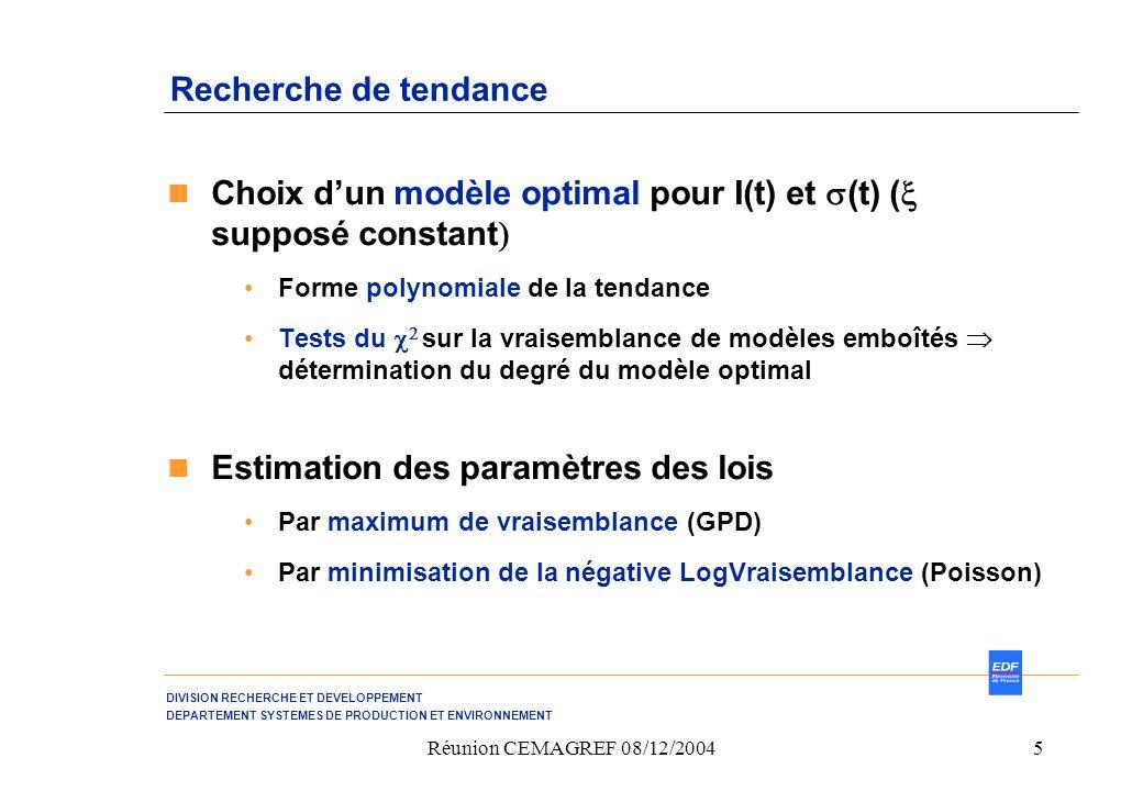 DIVISION RECHERCHE ET DEVELOPPEMENT DEPARTEMENT SYSTEMES DE PRODUCTION ET ENVIRONNEMENT Réunion CEMAGREF 08/12/20045 Recherche de tendance Choix dun modèle optimal pour I(t) et (t) ( supposé constant Forme polynomiale de la tendance Tests du sur la vraisemblance de modèles emboîtés détermination du degré du modèle optimal Estimation des paramètres des lois Par maximum de vraisemblance (GPD) Par minimisation de la négative LogVraisemblance (Poisson)