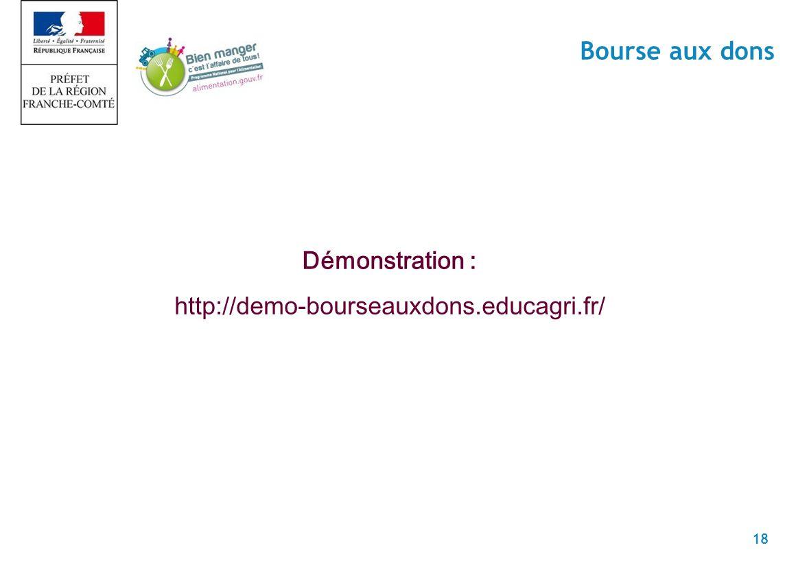 18 Bourse aux dons Démonstration : http://demo-bourseauxdons.educagri.fr/