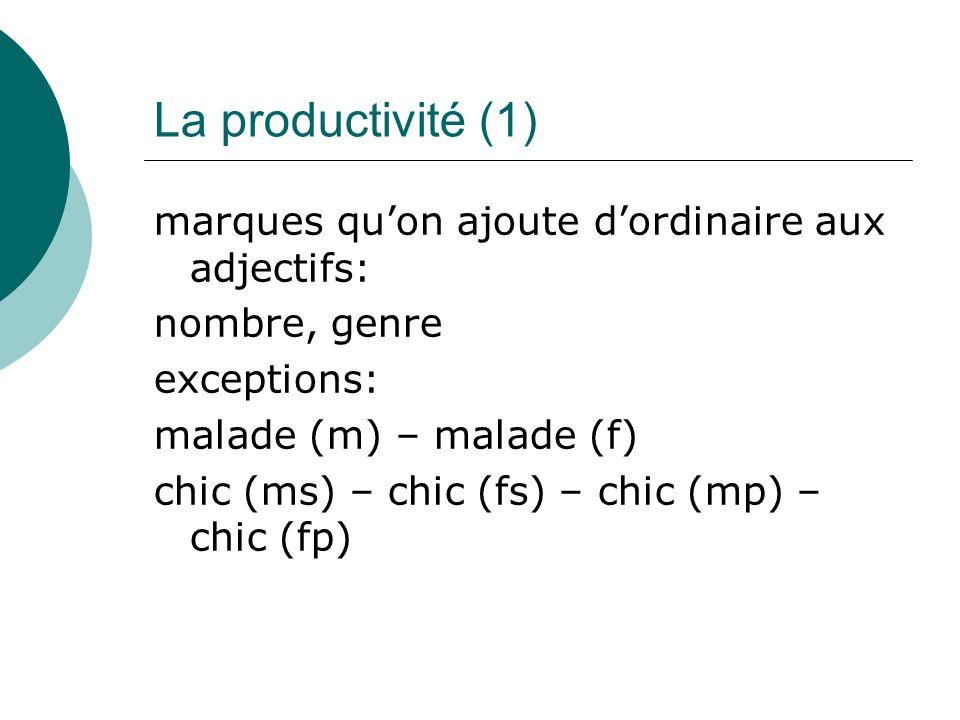 La productivité (1) marques quon ajoute dordinaire aux adjectifs: nombre, genre exceptions: malade (m) – malade (f) chic (ms) – chic (fs) – chic (mp) – chic (fp)