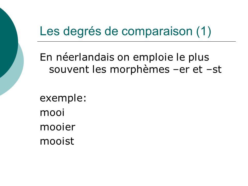 Les degrés de comparaison (1) En néerlandais on emploie le plus souvent les morphèmes –er et –st exemple: mooi mooier mooist