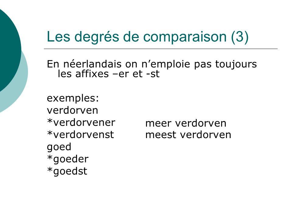 Les degrés de comparaison (3) En néerlandais on nemploie pas toujours les affixes –er et -st exemples: verdorven *verdorvener *verdorvenst goed *goeder *goedst meer verdorven meest verdorven