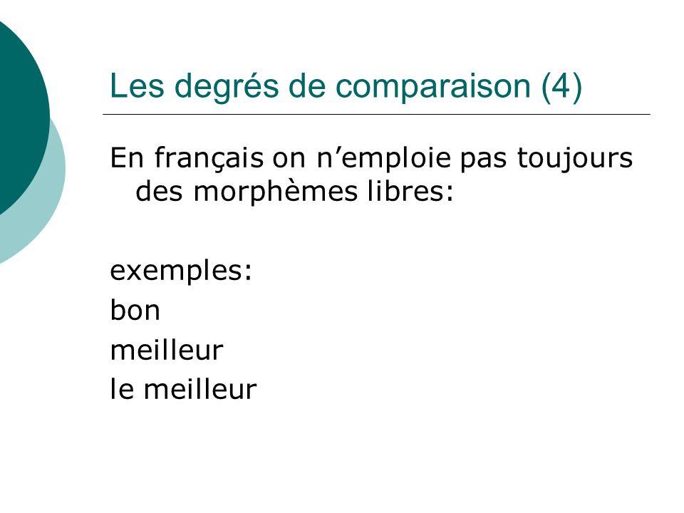Les degrés de comparaison (4) En français on nemploie pas toujours des morphèmes libres: exemples: bon meilleur le meilleur