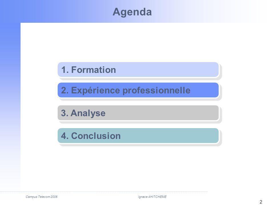 Campus Telecom 2006 2 Agenda 1. Formation 2. Expérience professionnelle 3. Analyse 4. Conclusion