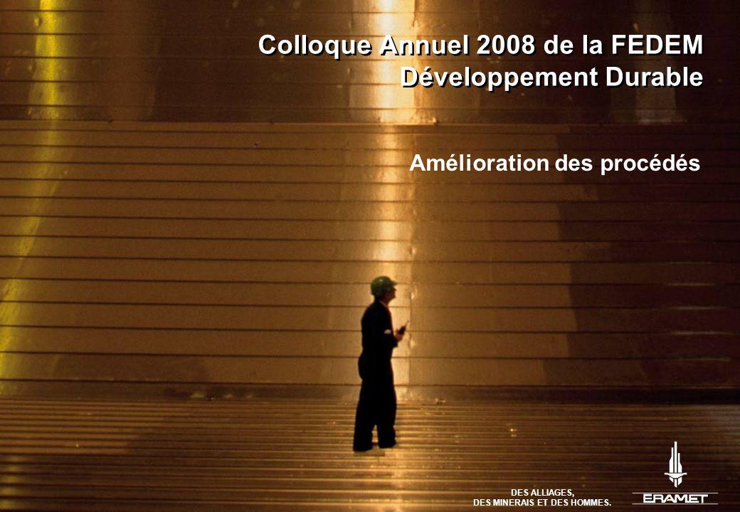 DES ALLIAGES, DES MINERAIS ET DES HOMMES. Colloque Annuel 2008 de la FEDEM Développement Durable Amélioration des procédés