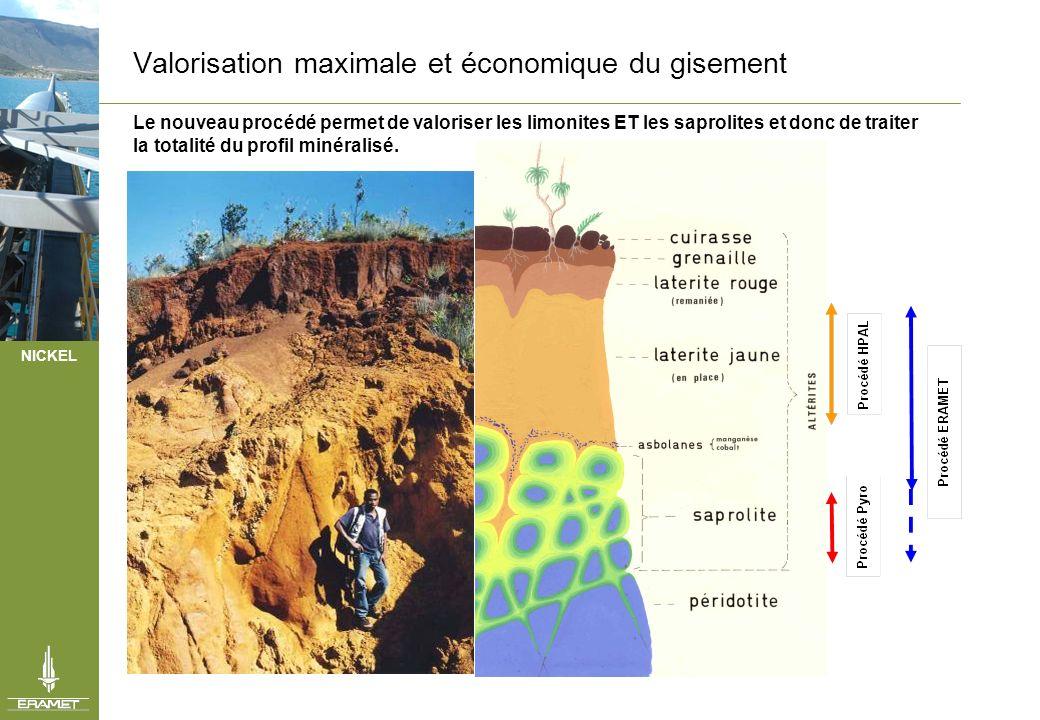 NICKEL Valorisation maximale et économique du gisement Le nouveau procédé permet de valoriser les limonites ET les saprolites et donc de traiter la to