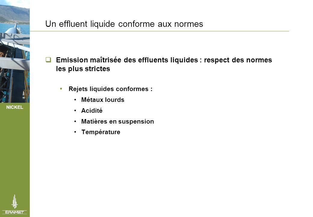 NICKEL Un effluent liquide conforme aux normes Emission maîtrisée des effluents liquides : respect des normes les plus strictes Rejets liquides confor