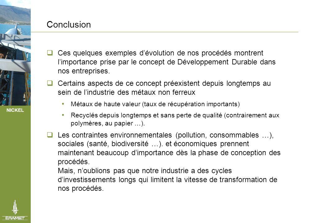 NICKEL Conclusion Ces quelques exemples dévolution de nos procédés montrent limportance prise par le concept de Développement Durable dans nos entrepr