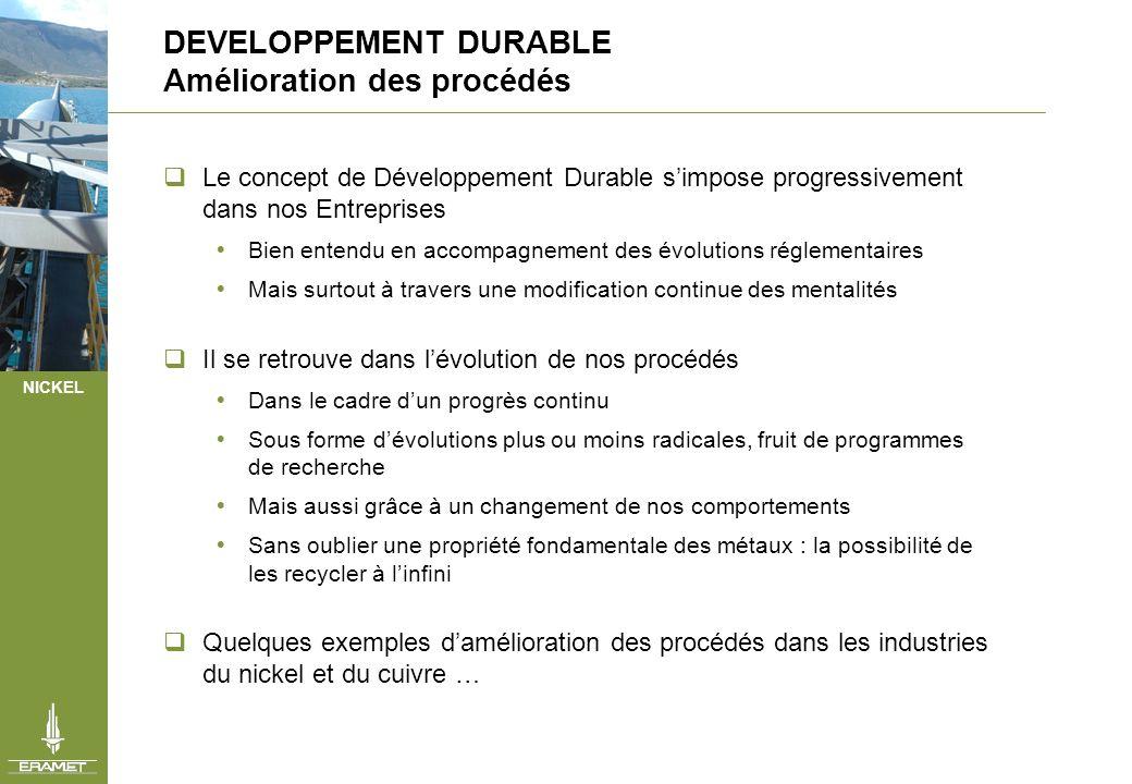 NICKEL DEVELOPPEMENT DURABLE Amélioration des procédés Le concept de Développement Durable simpose progressivement dans nos Entreprises Bien entendu e