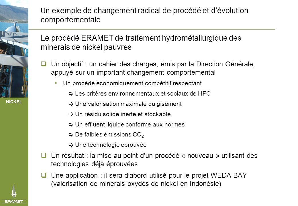 NICKEL U n exemple de changement radical de procédé et dévolution comportementale Le procédé ERAMET de traitement hydrométallurgique des minerais de n