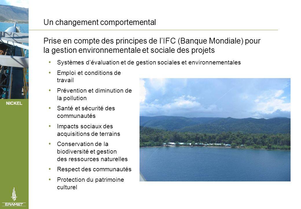 NICKEL Un changement comportemental Prise en compte des principes de lIFC (Banque Mondiale) pour la gestion environnementale et sociale des projets Sy