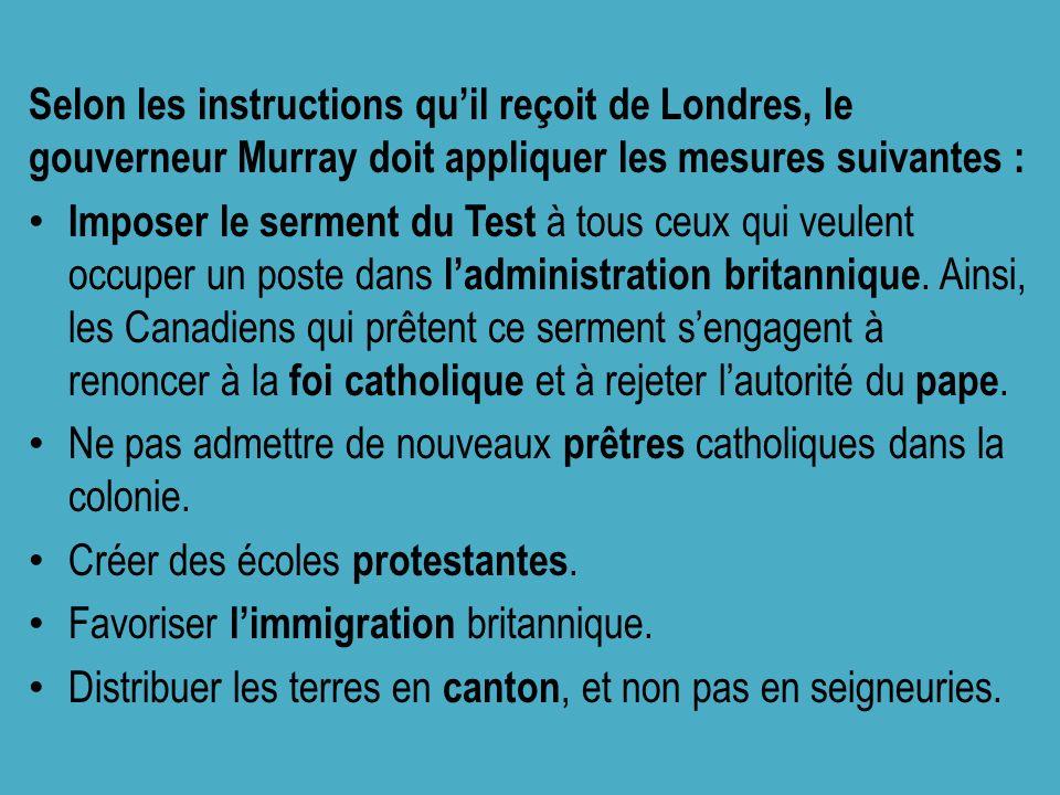 Selon les instructions quil reçoit de Londres, le gouverneur Murray doit appliquer les mesures suivantes : Imposer le serment du Test à tous ceux qui veulent occuper un poste dans ladministration britannique.