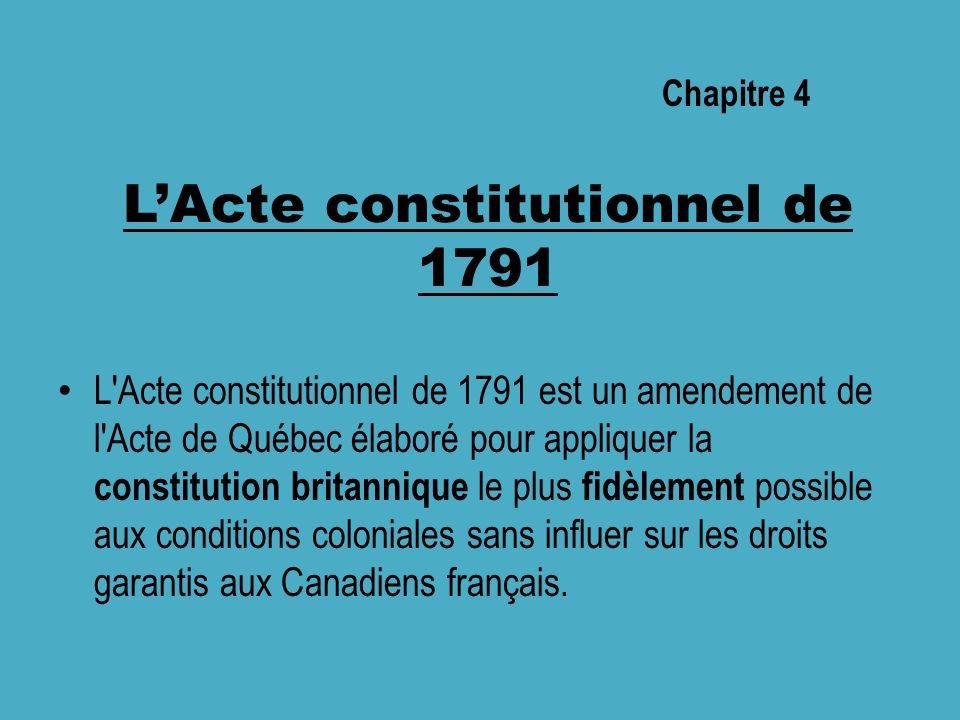 LActe constitutionnel de 1791 L Acte constitutionnel de 1791 est un amendement de l Acte de Québec élaboré pour appliquer la constitution britannique le plus fidèlement possible aux conditions coloniales sans influer sur les droits garantis aux Canadiens français.