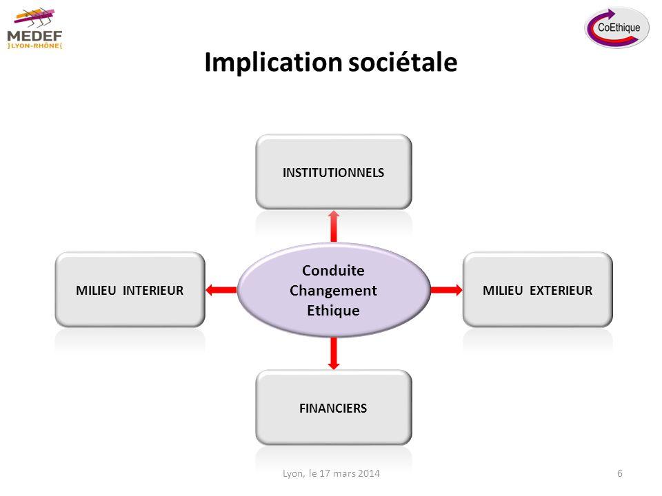 Implication sociétale Conduite Changement Ethique Lyon, le 17 mars 20146