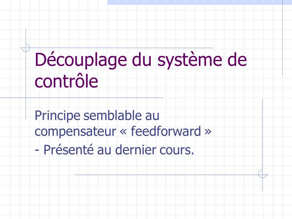 Découplage du système de contrôle Principe semblable au compensateur « feedforward » - Présenté au dernier cours.