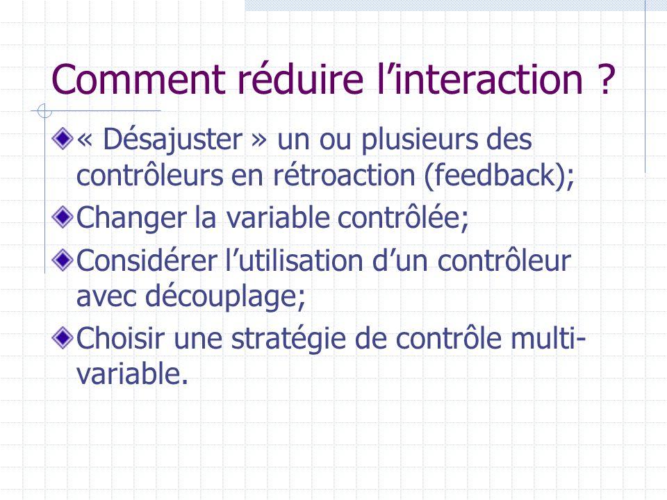 Comment réduire linteraction ? « Désajuster » un ou plusieurs des contrôleurs en rétroaction (feedback); Changer la variable contrôlée; Considérer lut