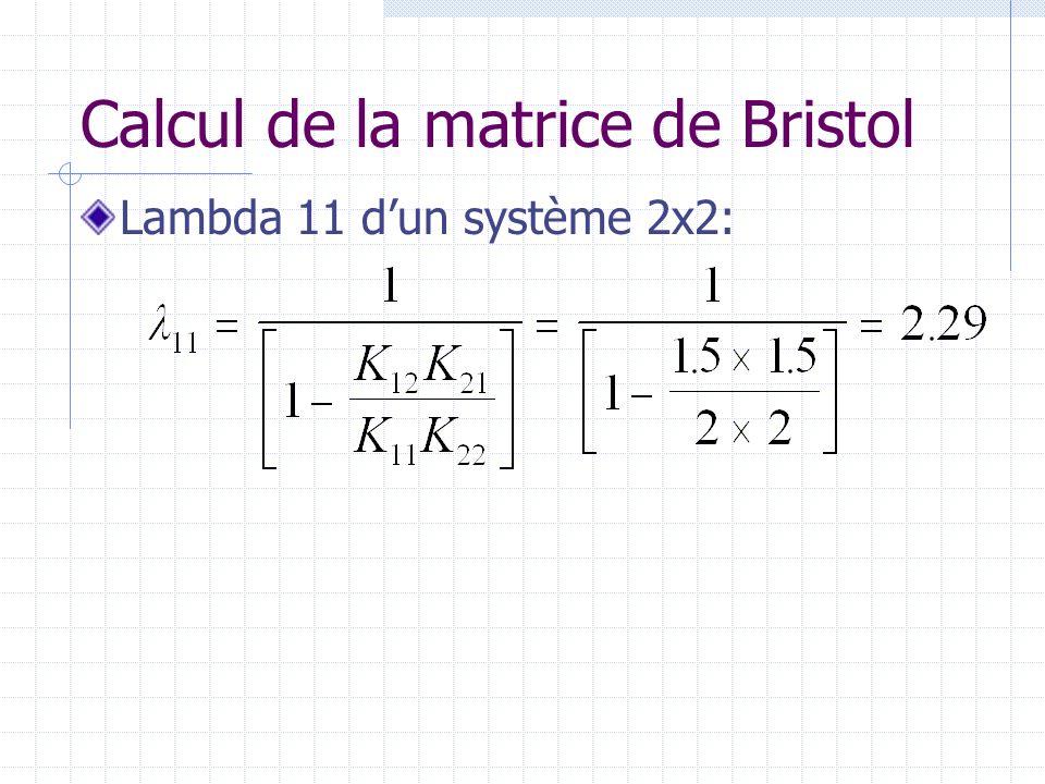 Matrice de Bristol Donc, on obtient: Ainsi, u 1 doit être couplé à y 1 et u 2 à y 2.